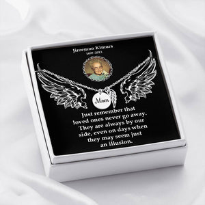 Mom Remembrance Necklace-Custom Photo Message Card-Personalized Memorial Angel Wings Necklace