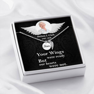 Mom Remembrance Necklace-Custom Photo Message Card-Angel Wings Necklace
