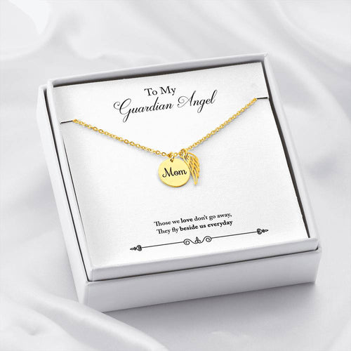 Mom Remembrance Necklace With My Guardian Angel Message Card