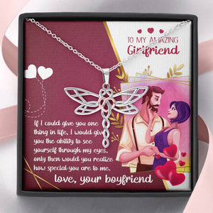 To My Amazing Girfriend-Dragonfly Dreams Necklace- Gift From Boyfriend