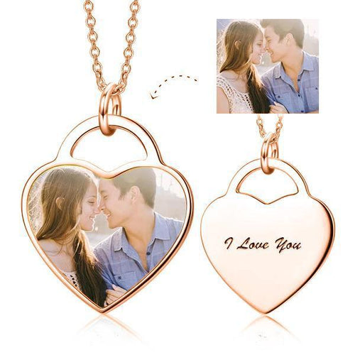 Custom Heart Photo Necklace- Personalized Photo Heart Pendant Necklace