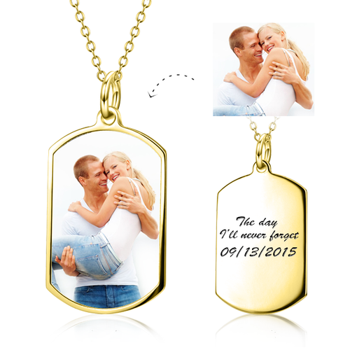 Custom Dog Tag Necklace- Personalized Photo Pendant Necklace