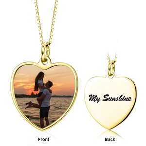 Custom Heart Photo Necklace- Photo Necklace With Words, Name, Date