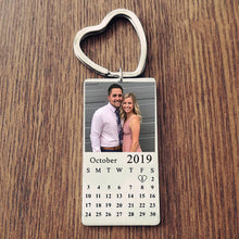 Personalized Photo Calendar Keychain Best Anniversary gift For Couple, Him/Her