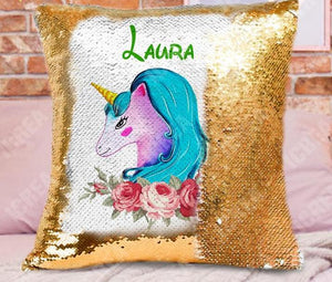 Custom Unicorn Sequins Pillow Cover