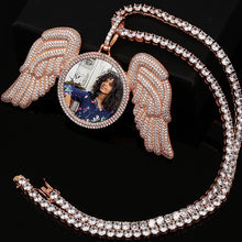 tennis chain wings medallion necklace