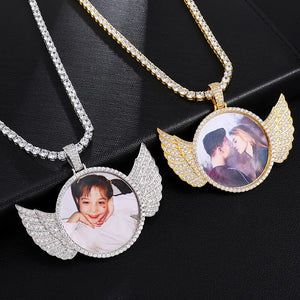 18k Gold Plated Custom Photo Wings Pendant Medallion Necklace