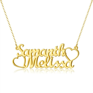 Personalized Double Name Necklace For Women, 18k Gold Plated