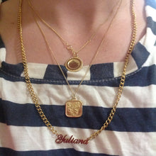 Custom Curb Chain Name Necklace In 18K Gold Plated