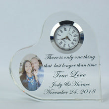 Personalized Heart Shaped Crystal Clock