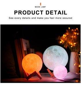 3D Printed Moon Light - Night Light For Home Decor