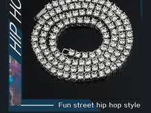 Hip Hop 1 Row Tennis Chain Necklace- 5mm Width Rhinestones