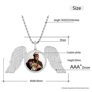 Custom Photo Angel Wing Medallions Necklace