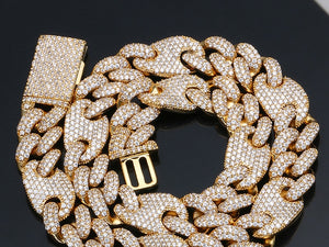 Iced Out Cuban Full Of Crystal Necklace Bracelet Set- Men's Hip Hop Jewelry