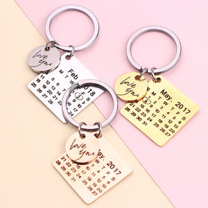 Custom Keychain with Date, Photo, Engrave Text