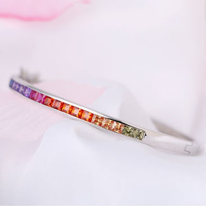 925 Sterling Silver Bracelet With Colorful Crystal Rainbow Rhinestone