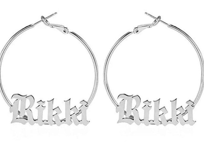 Custom Name Earrings- Old English Hoop Earring