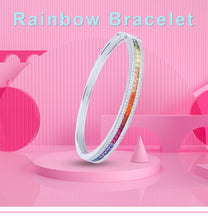 925 Sterling Silver Rainbow Bangle - Colorful Rhinestone Bracelet