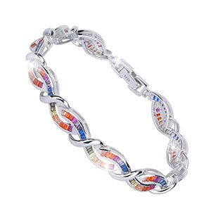 925 Sterling Silver Rainbow Bracelet - Cross Charm Bangle Bracelet