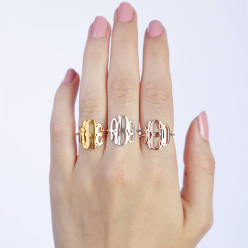Custom Monogram Ring 18k Gold Plated