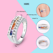 925 Sterling Silver Rainbow Crystal Rings