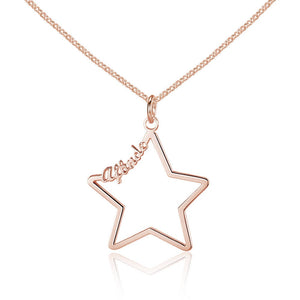 Custom Hollow Star Name Necklace