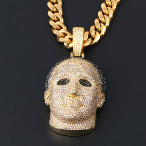 Hip Hop CZ Men Head Pendant Necklace With Cuban Chain