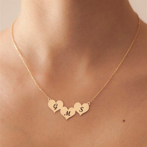 Personalized Initial Three Heart Pendant Necklaces