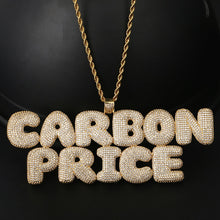 Custom Name Pendant Necklace- Cubic Zircon Bubble Letters