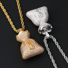 US Dollar Money Bag Pendant Necklace- Double Side Charm