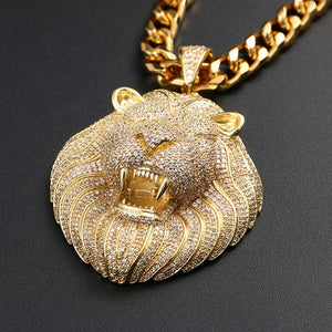 Lion Head Pendant Necklace- Men's Hip Hop Jewelry