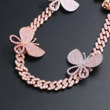 Pink Cubic Zirconia Bling Ice Out Butterfly Pendants Necklace