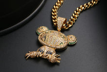 Iced Out CZ Colorful Frog Pendant Necklace - Men's Hip Hop