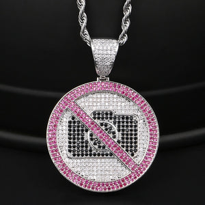 Full Of Crystal Prohibition Sign Pendant Necklace