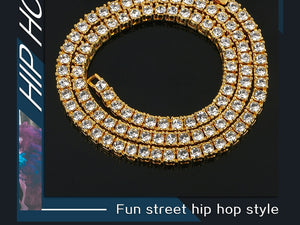 Men's Hip Hop Necklace- 5mm Bling Iced Out 1 Row Tennis Chain
