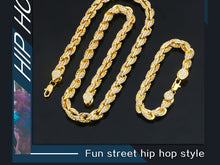 Men's Hip Hop Necklace and Bracelet Set- 9mm Iced Out Rope Link Chain