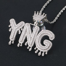 Custom Name Necklace- Bubble Letters Pendant With Crown