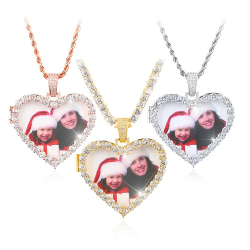 Custom Photo Heart Medallions Pendant Necklace