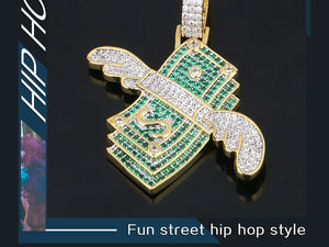 US Dollar Money Pendant Necklace- Men's Hip Hop Jewelry