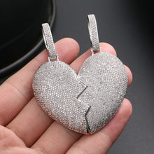 Broken Heart Iced Out Couple Pendant Necklace- Hip Hop Jewelry