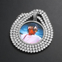 custom photo medallion necklace - silver