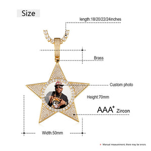 Custom Star Photo Medallions Pendant Necklace