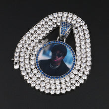 Blue Crystal Photo Memory Medallion Necklace