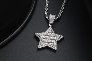 Crystal Star Pendant Necklace- Men's Hip Hop Jewelry