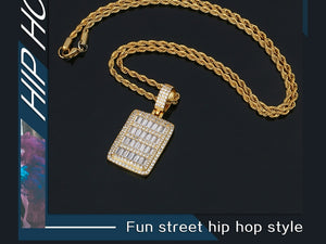 Rectangle Dog Tag Necklace For Men's Hip Hop