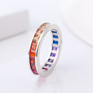 925 Sterling Silver Rainbow Ring With One Row Colorful Rhinestone