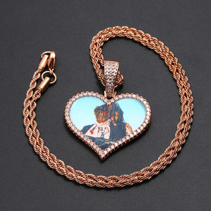 Custom Photo Medallion Necklace-Heart Crystal Pendant