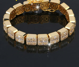 Hip Hop Bracelet- 10mm Gold Color Zircon Stone