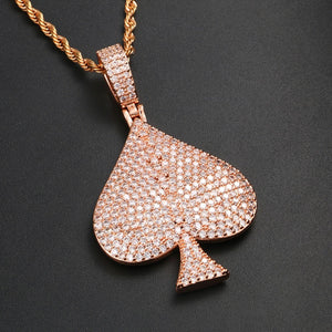 Hip hop Solid Heart Iced Out Pendant Necklace