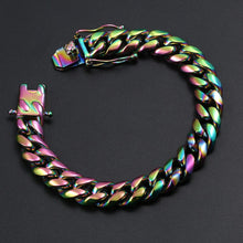 Stainless Steel Hip Hop Bracelet- 10mm Colorful Cuban Link Chain